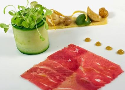 Tuna Carpaccio with Hummus, Roasted Garlic, Fried Chickpeas, Candied Lemon Zest, Honey-Tahini, Local Greens, Lemon-Thyme Vinaigrette