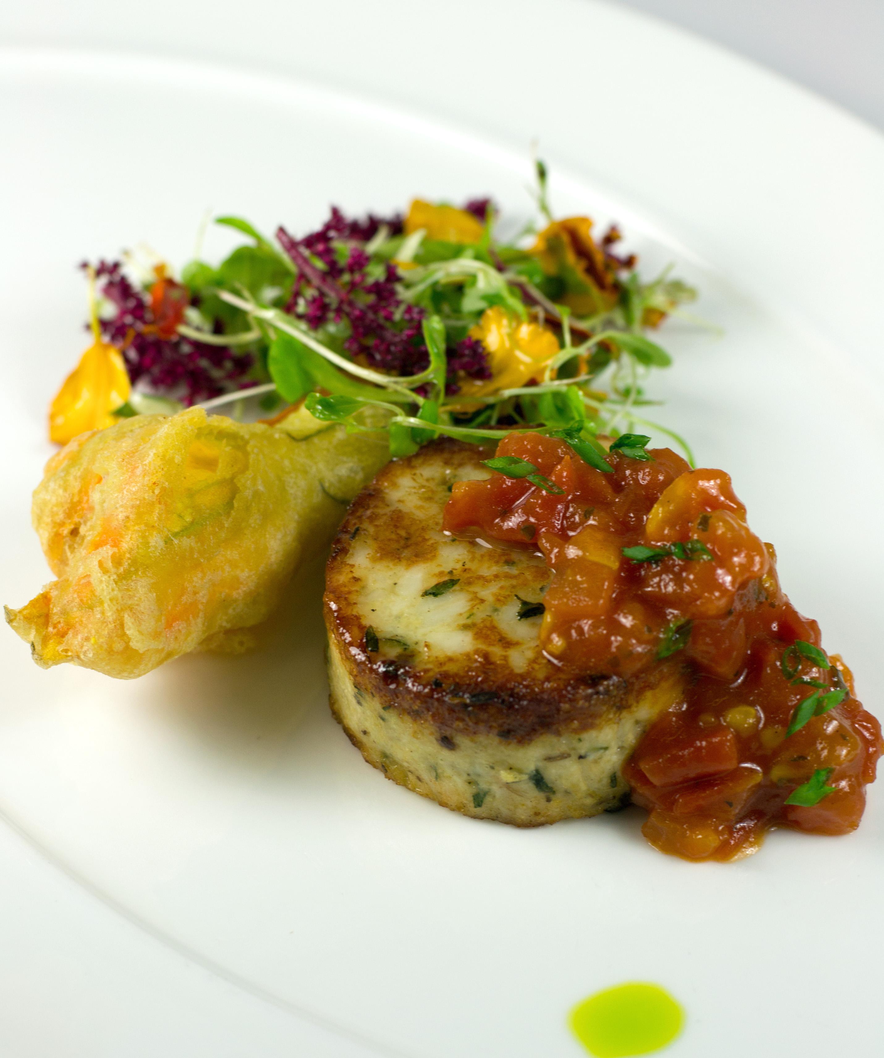 Corn and Crab Cake with Pickled Tomato Relish, Tempura Squash Blossom ...