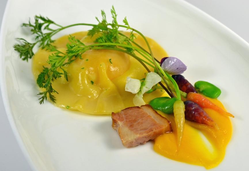 Egg Yolk Ravioli, Braised Pork Belly, Early Harvest Vegetables, Butternut Squash Puree
