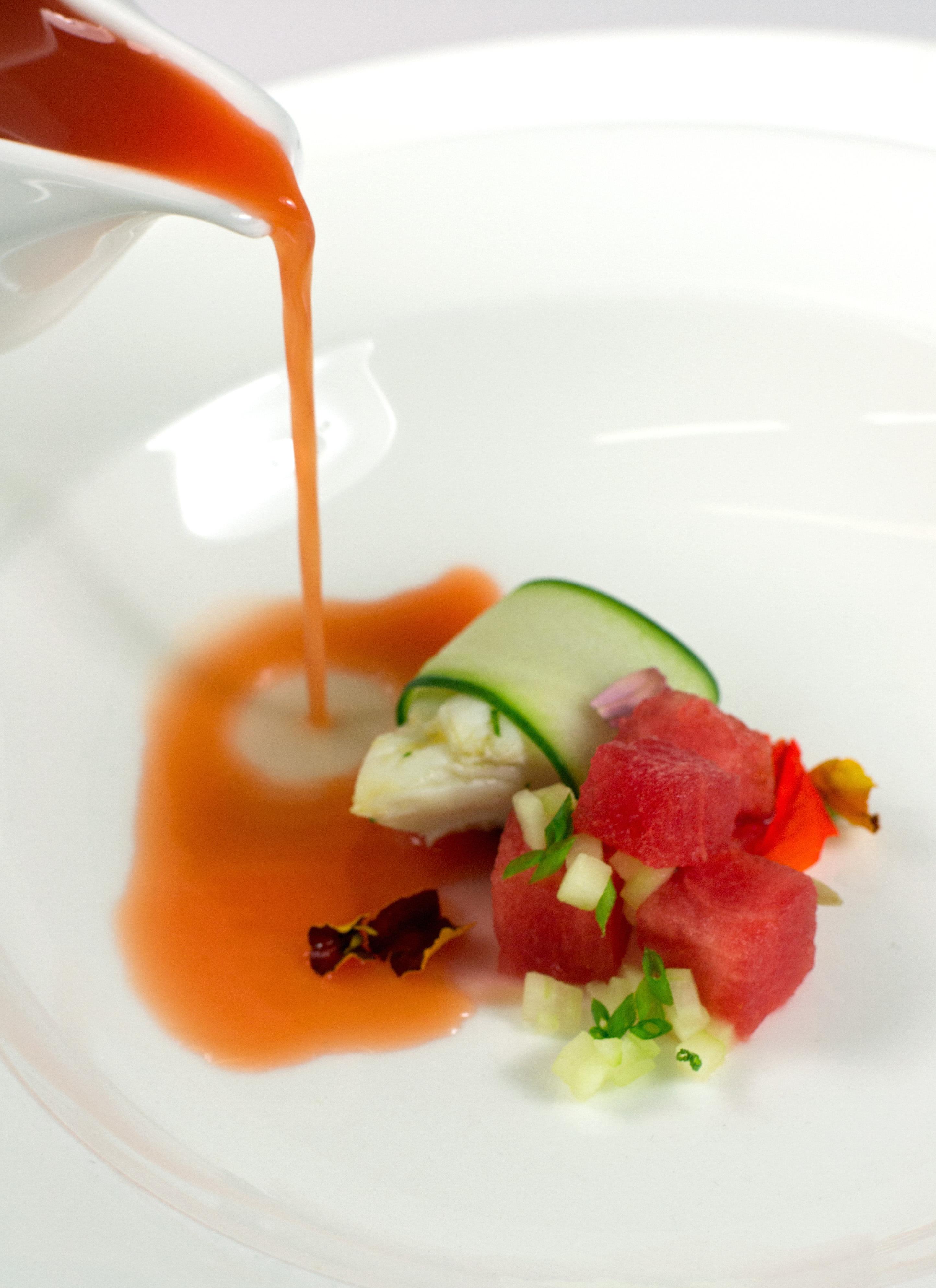 Watermelon and Crab Gazpacho