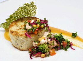 Crab Cake with Smoked Mustard, Pickled Vegetables